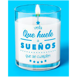"VELA C/ MENSAJE ""HUELE A SUEÑOS"" - 111"