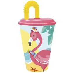 VASO CAÑA EASY 430 ML FLAMINGO MOOD